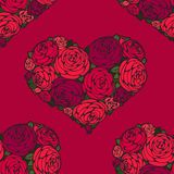 Seamless pattern with hearts made of red rose Royalty Free Stock Image
