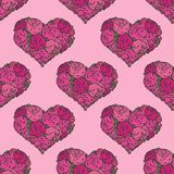 Seamless pattern with hearts made of red rose Stock Photography