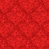 Seamless pattern with hearts made of red rose Royalty Free Stock Photo