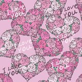 Seamless pattern with hearts made of red rose Stock Images