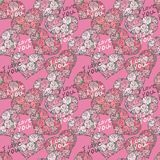 Seamless pattern with hearts made of red rose Royalty Free Stock Photos