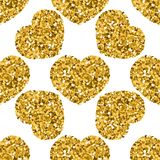 Seamless pattern of hearts made of sparkles, sequins, confetti, love themes, for Valentine`s Day, congratulations of lovers, royalty free illustration