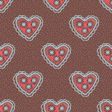 Seamless pattern with hearts. Openwork heart, drawn by hand. Cro Stock Image