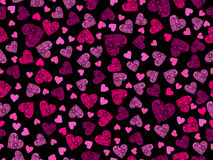 Seamless pattern with hearts and an ornament on a black background. Happy Valentine`s Day. Vector Stock Photography