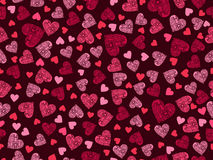 Seamless pattern with hearts and ornament on a dark red background. Happy Valentine`s Day. Vector Royalty Free Stock Photography