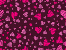 Seamless pattern with hearts and ornament on a dark red background. Happy Valentine`s Day. Vector Royalty Free Stock Image