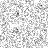 Seamless pattern with hearts ornament. Floral decorative pattern in zentangle style. Adult antistress coloring page Royalty Free Stock Images