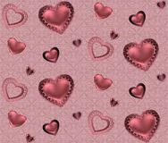 Seamless pattern with hearts and ornament on a pink and red background with flowers Romantic valentines Stock Image