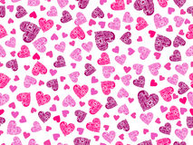 Seamless pattern with hearts and an ornament on a white background. Happy Valentine`s Day. Vector Royalty Free Stock Image