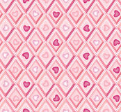 Seamless pattern: hearts and pink diamonds Stock Photography