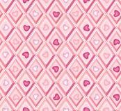 Seamless pattern: hearts and pink diamonds. Abstract background. seamless pattern with hearts and pink diamonds stock illustration