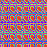Seamless pattern of hearts rainbow. Psychedelic. Optical illusion Stock Image