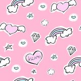 Seamless pattern with hearts, rainbow and stars on a pink background. Vector cartoon illustration with diamond. Seamless pretty pattern with hearts, rainbow and Royalty Free Stock Photography