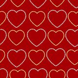 Seamless pattern with hearts on a red background stock illustration