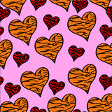 Seamless pattern hearts. Seamless pattern red and orange hearts with tiger pattern on a pink background Stock Photos