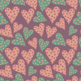 Seamless pattern with hearts. Retro polka dots background. Vector texture Royalty Free Stock Photo
