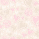 Seamless pattern with hearts and roses Royalty Free Stock Photography