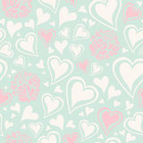 Seamless pattern with hearts and roses Royalty Free Stock Photo