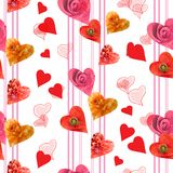 Seamless  pattern with hearts. And flowers Royalty Free Stock Photography
