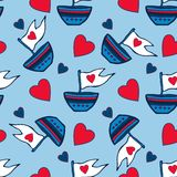 Seamless pattern of hearts and ships hand drawn. Kids red and blue seamless pattern can be used for pattern fills, wallpapers, web Stock Photo