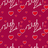 Seamless pattern with hearts and sign `With love!`. Raster clip art. Stock Images