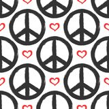 Seamless pattern with hearts and signs of peace. Grunge, graffiti, sketch. Royalty Free Stock Photo
