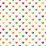 Seamless pattern with hearts. Seamless pattern with small multicolour hearts on white background Stock Photo