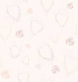 Seamless pattern with hearts and spirals of the points Royalty Free Stock Photo