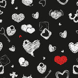 Seamless Pattern with Hearts. St. Valentine's Day Design Element. Doodle Style. Vector. White Elements on Black Background Royalty Free Stock Images