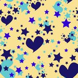 Seamless Pattern Hearts and Stars Back to School Royalty Free Stock Photos