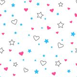 Seamless pattern with hearts and stars. Vector illustration vector illustration