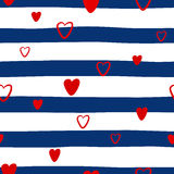 Seamless pattern with hearts on a striped background Stock Images