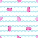 Seamless pattern with hearts and stripes. Seamless pattern with pink heart and blue stripes Stock Illustration