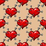 Seamless pattern of hearts studded with nails Royalty Free Stock Photography