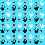 Seamless pattern with a hearts and swans Royalty Free Stock Photography