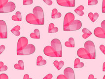 Seamless pattern with hearts. Symbol of love with rays of light. Royalty Free Stock Photo