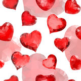 Seamless pattern of hearts of triangles Stock Photo