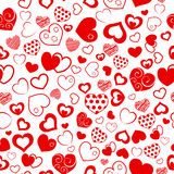 Seamless pattern of hearts. Seamless pattern of various hearts, red on white Stock Image