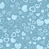Seamless pattern of hearts. Seamless pattern of various hearts, in turquoise color Stock Photos