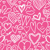 Seamless pattern with hearts. Vector seamless pattern hand drawn, doodle hearts in red, swirl design elements Royalty Free Stock Image