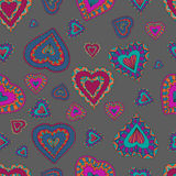Seamless pattern of hearts.Vector illustration. Hand drawn Seamless pattern of ornamental hearts  in doodle, zentangle style for prints. Vector illustration Royalty Free Stock Image