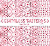 Seamless pattern with hearts. Vector set of ornamental backgrounds. Royalty Free Stock Image