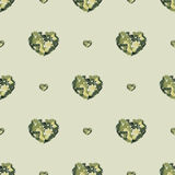 Seamless pattern with hearts from watercolor blurs vector illustration