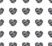 Seamless pattern of hearts on a white background. Retro style. Spriting. Old computer games vector illustration