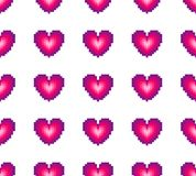 Seamless pattern of hearts on a white background. Retro style. Spriting. Old computer games stock illustration