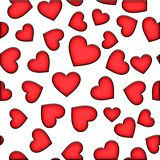 Seamless pattern from red hearts on a white background. Valentine`s day royalty free illustration