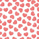 Seamless pattern from hearts on a white background. Valentine`s Day. Painted scrawl. Background for your design. Vector. Seamless pattern from hearts on a white Royalty Free Stock Photography