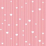 Seamless pattern with hearts. Seamless pattern with white beads and hearts on pink background Stock Photo