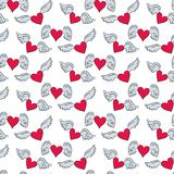 Seamless pattern with hearts and wings on the white background f stock illustration