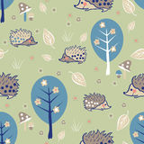 Seamless pattern with hedgehog Royalty Free Stock Image